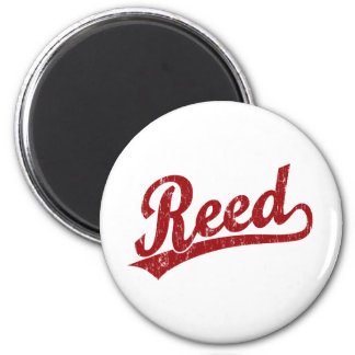 Reed  script logo in red 2 inch round magnet