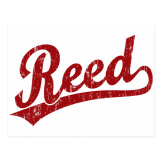Reed  script logo in red postcard