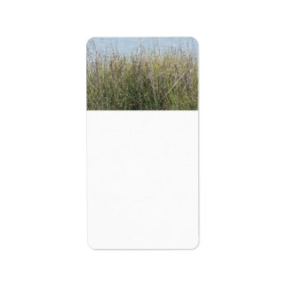 Reeds grass and water address label