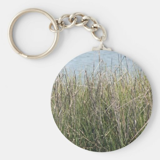 Reeds grass and water basic round button keychain