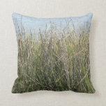 Reeds grass and water throw pillow