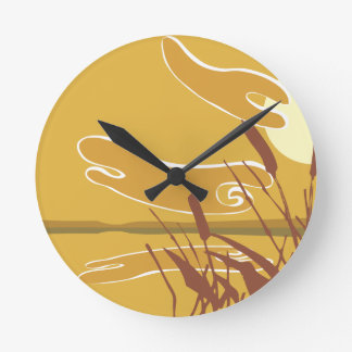 Reeds in the Sunset Round Wallclock