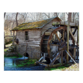 Reeds Spring Mill in January Poster