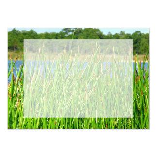 Reeds trees pond background card