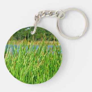 Reeds trees pond background Double-Sided round acrylic keychain