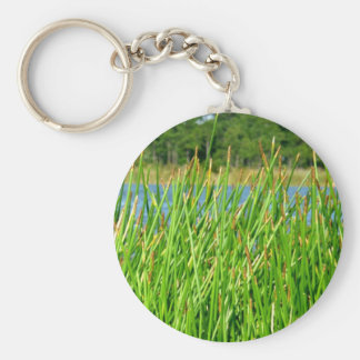 Reeds trees pond background key chains