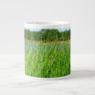 Reeds trees pond background large coffee mug