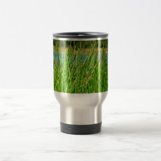 Reeds trees pond background 15 oz stainless steel travel mug