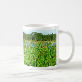 Reeds trees pond background classic white coffee mug