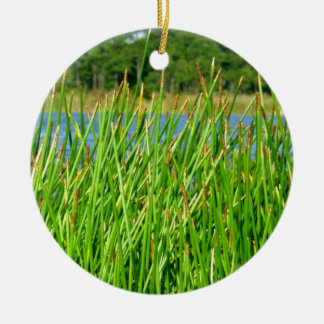 Reeds trees pond background Double-Sided ceramic round christmas ornament