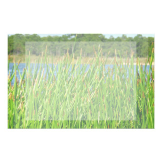 Reeds trees pond background stationery paper