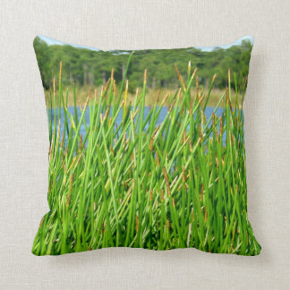 Reeds trees pond background throw pillow