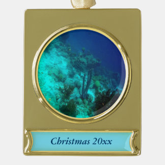 Reef Edge Gold Plated Banner Ornament