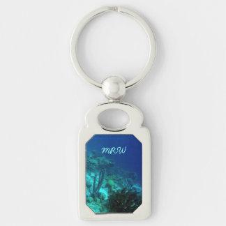 Reef Edge Monogrammed Silver-Colored Rectangular Metal Keychain