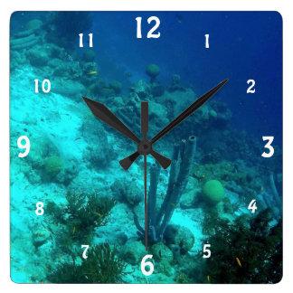 Reef Edge Square Wall Clock