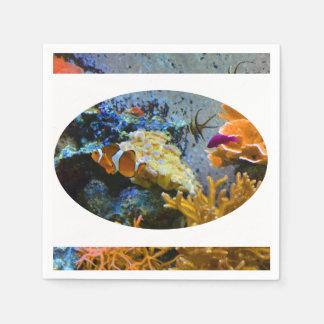 reef fish coral ocean paper napkin