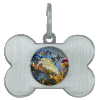 reef fish coral ocean pet name tag