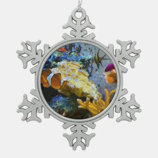 reef fish coral ocean snowflake pewter christmas ornament