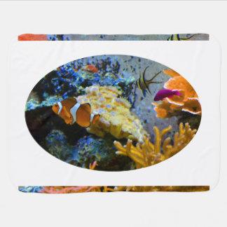 reef fish coral ocean stroller blanket
