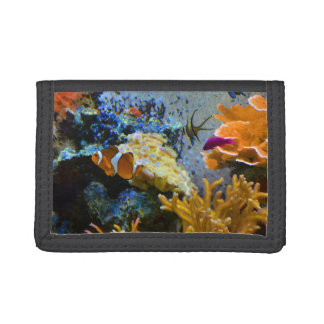 reef fish coral ocean trifold wallets