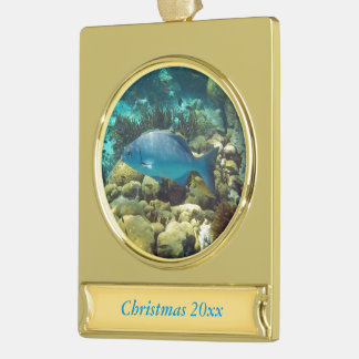 Reef Fish Dated Gold Plated Banner Ornament