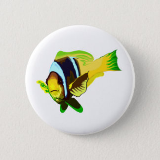Reef Marine Life: Clark's Anemonefish Button
