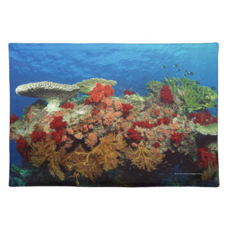 Reef scenic of hard corals , soft corals cloth placemat