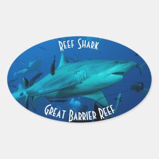 Reef Shark Great Barrier Reef Coral Sea Oval Sticker