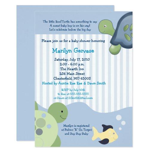 Reef Turtle (4x6) Boy Baby Shower Invitation
