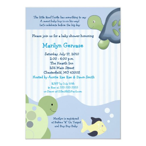 Reef Turtle (4x6) Boy Baby Shower Invitation