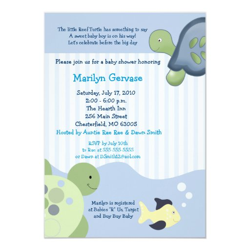 "REEF TURTLE 5x7 Baby Shower Invitation 5"" X 7"" Invitation Card"