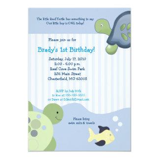 REEF TURTLE & Fish 5x7 Custom Birthday Invitation