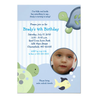REEF TURTLE Photo 5x7 Custom Birthday Invitation