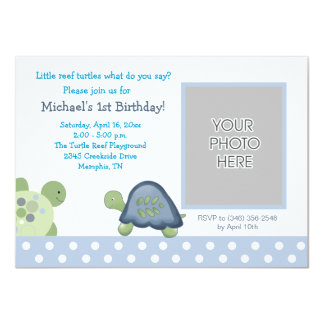 Reef Turtle Photo Birthday Invitation