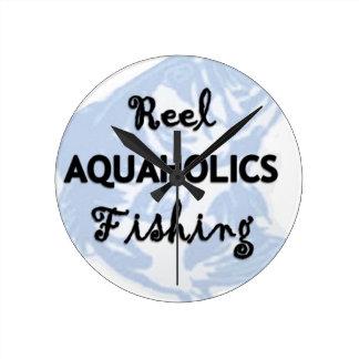Reel Aquaholics Fishing Round Clock