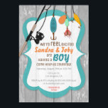 "Reel Excited Fishing Baby Shower Invitation<br><div class=""desc"">Celebrate a baby shower with this adorable fishing invitation. Features cute fishing pole with colorful lures and a wood texture background.</div>"
