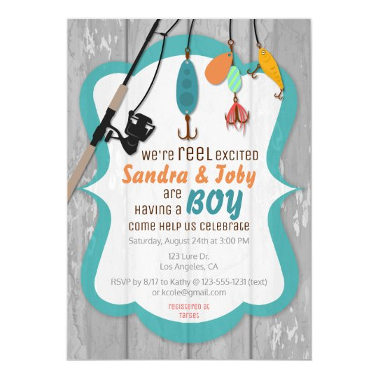 Reel Excited Fishing Baby Shower Invitation Zazzle Com