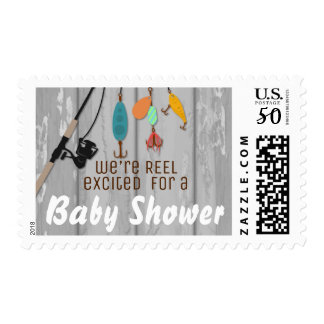 Reel Excited Fishing Baby Shower Matching Stamps