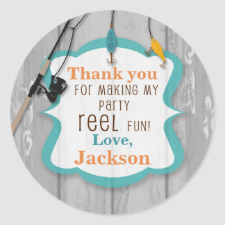 Reel Excited Fishing Thank You Sticker Tags