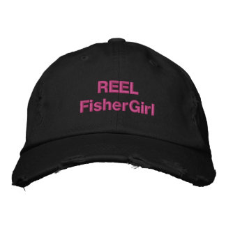 REEL FisherGirl in Black Embroidered Baseball Hat