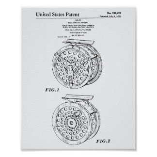 Reel For Fly Fishing 1974 Patent Art Old Peper Poster