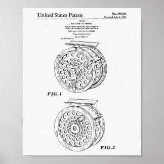 Reel For Fly Fishing 1974 Patent Art White Paper Poster