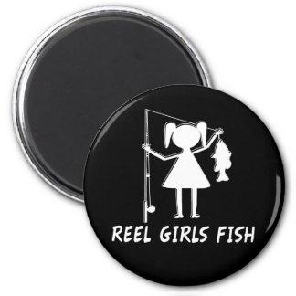 REEL GIRLS FISH! 2 INCH ROUND MAGNET