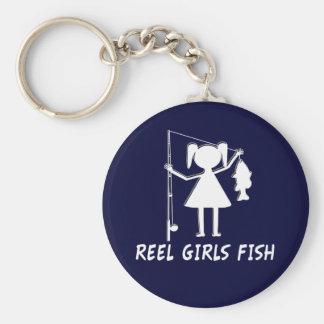 REEL GIRLS FISH! BASIC ROUND BUTTON KEYCHAIN