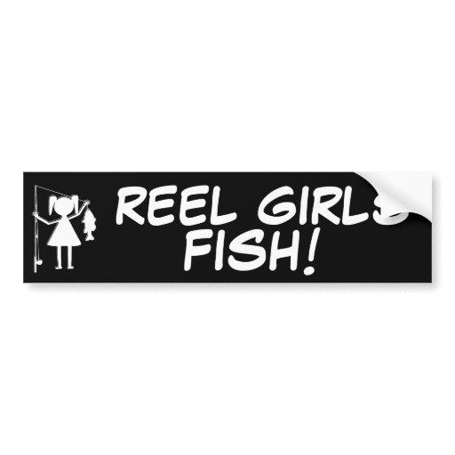 Reel girls fish car bumper sticker zazzle for Fishing car stickers