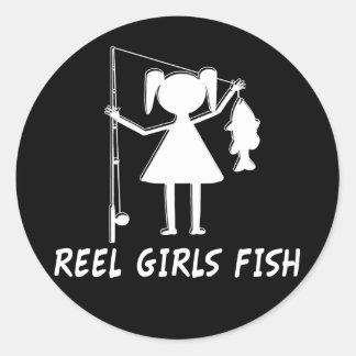 REEL GIRLS FISH! CLASSIC ROUND STICKER