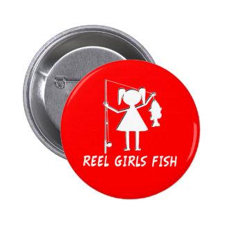 REEL GIRLS FISH! PINBACK BUTTON