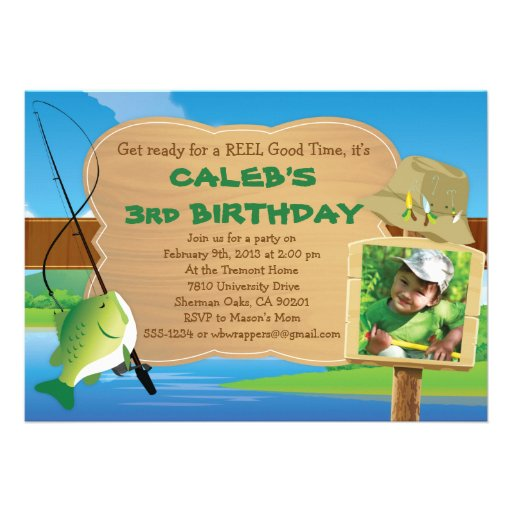 Reel good time fishing themed party invitation 5 x 7 for Fishing birthday invitations