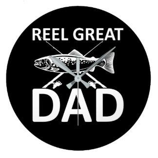 Reel Great Dad Cute Fishing Dad Saying Large Clock