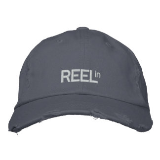 REEL in Fishing Embroidered Hat Blue